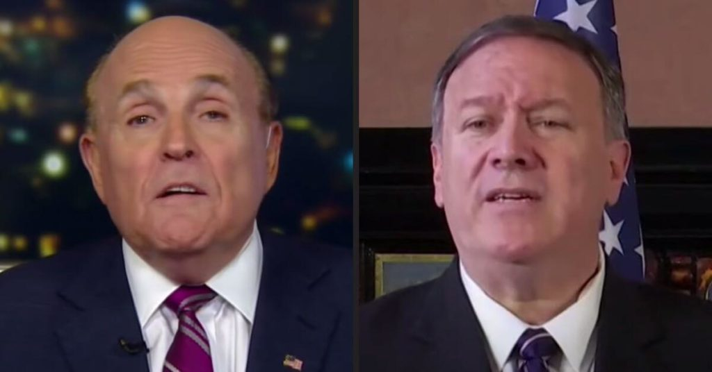 Side by side photographs of Rudy Giuliani and Mike Pompeo.