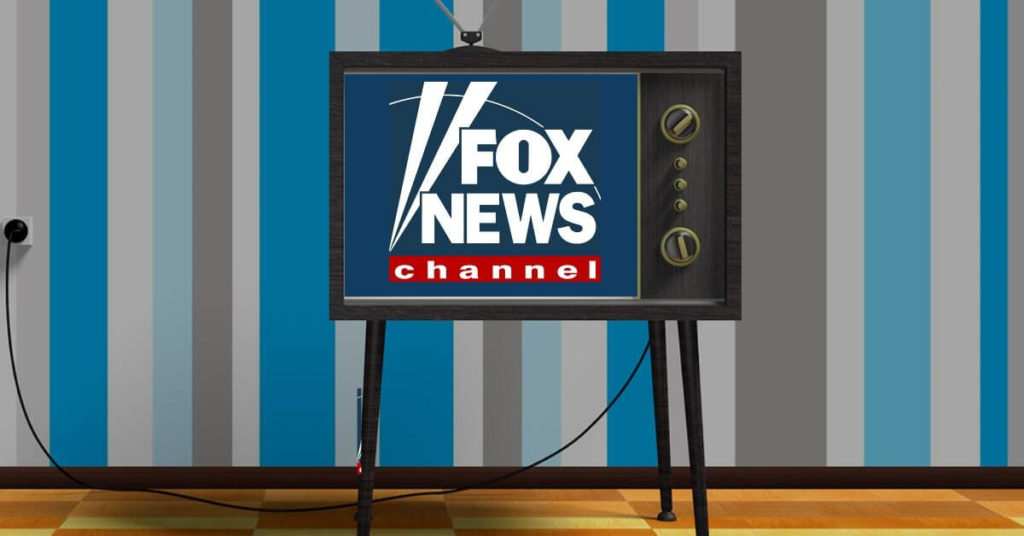 Cartoon television with the Fox News logo on the screen