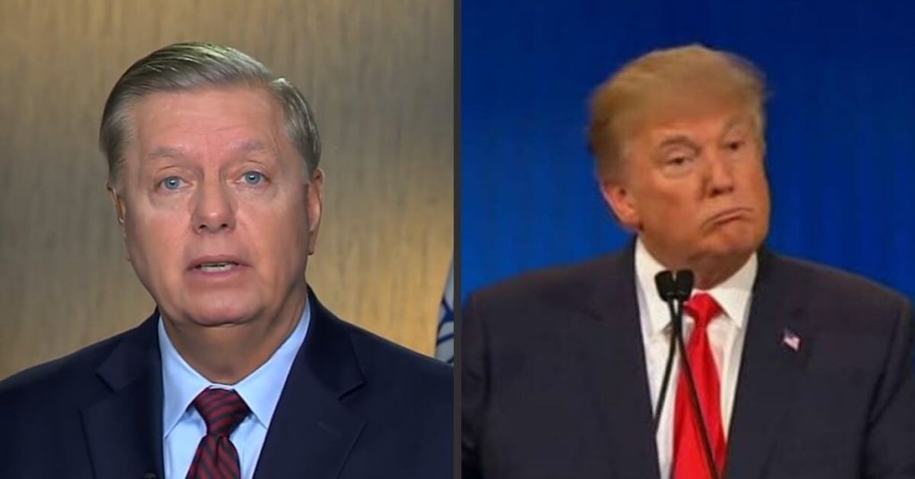 Side by side of Lindsey Graham and Trump