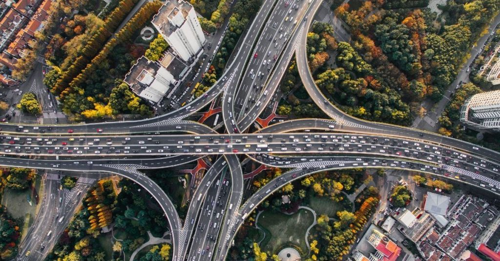 Aerial photo of an interstate