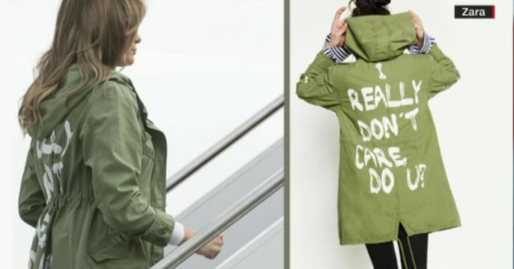 """Side by side photo of Melania Trump and a model wearing the """"I really don't care do u?"""" jacket"""
