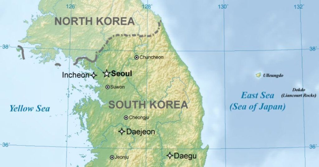 A map of the Koreas