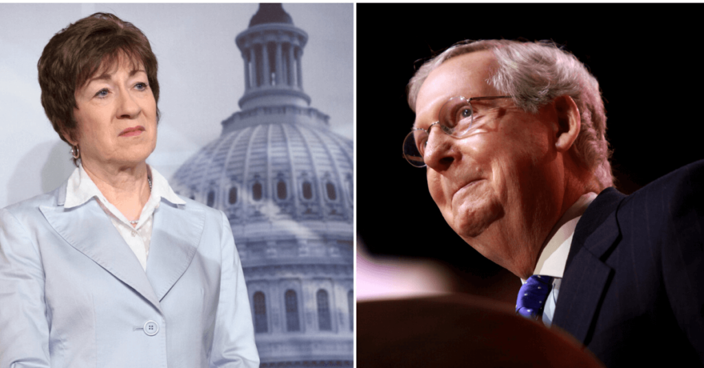 Side by side photo of Susan Collins and Mitch McConnell