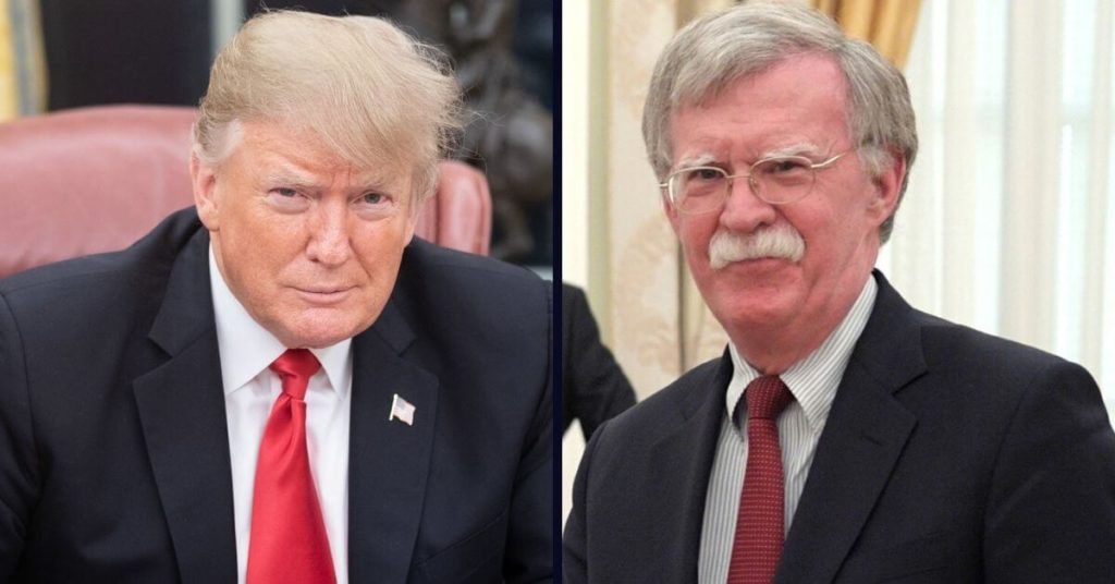 Side by side photo of Trump and Bolton