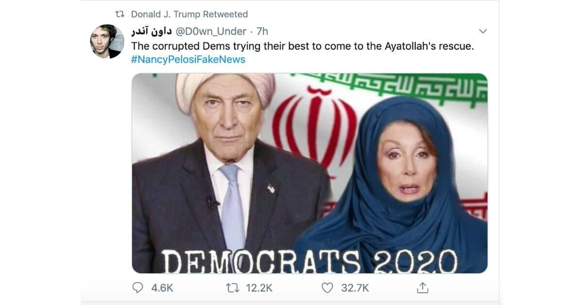 Trump retweets a pic of Pelosi in a hijab. Twitter is once again embarrassed by the 'idiot' president.