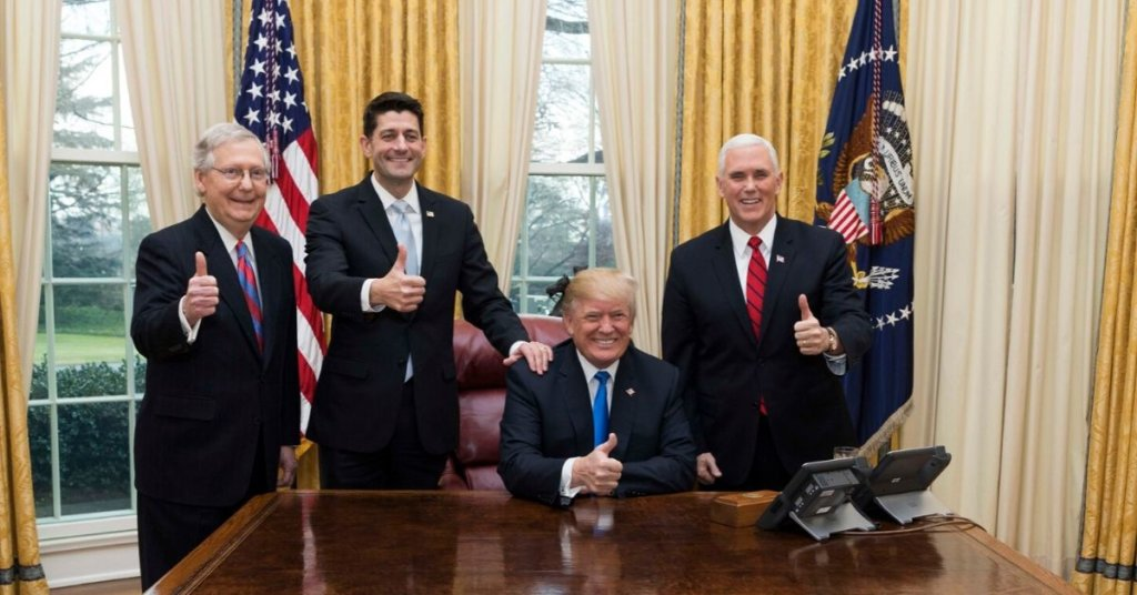 Trump Pence McConnell Oval Office Thumb's Up