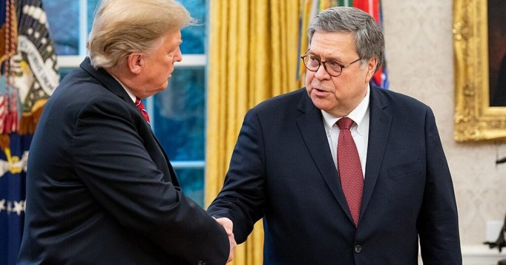 Trump and Barr shaking hands