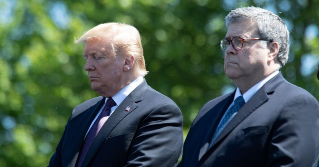 A photograph of Trump and Barr standing outside