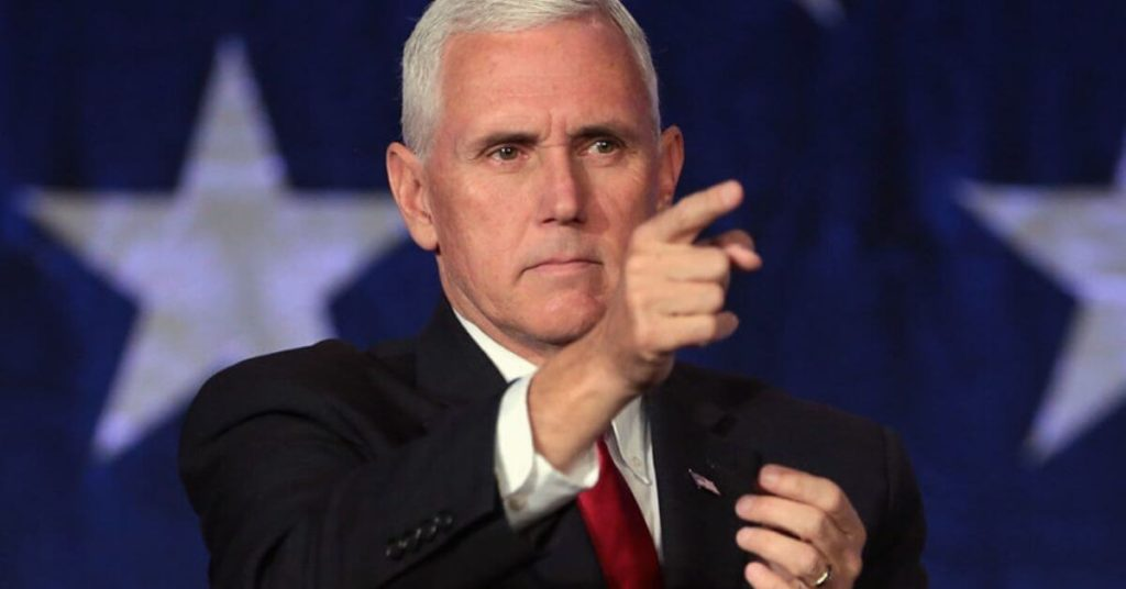 Mike Pence Vice President pointing at the crowd
