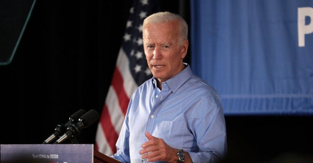 A photograph of Joe Biden speaking.