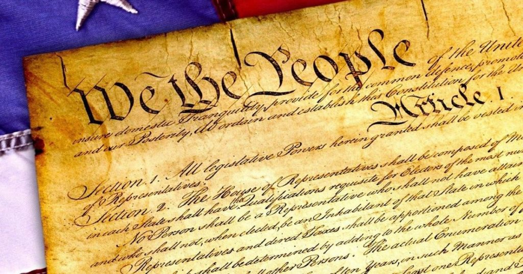 A stylized photo of the Constitution