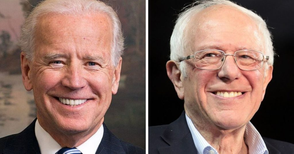 Side by side photo of Joe Biden and Bernie Sanders