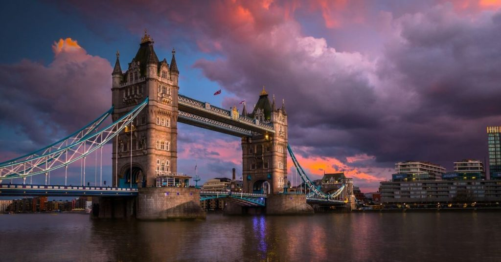 tower bridge with colorful sky