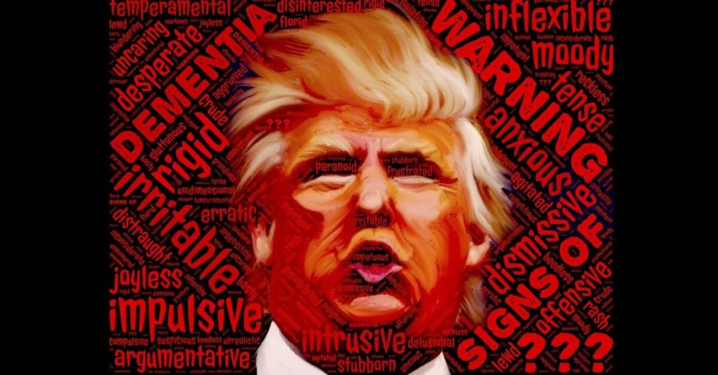 An image of Donald Trump surrounded by red warning signs.