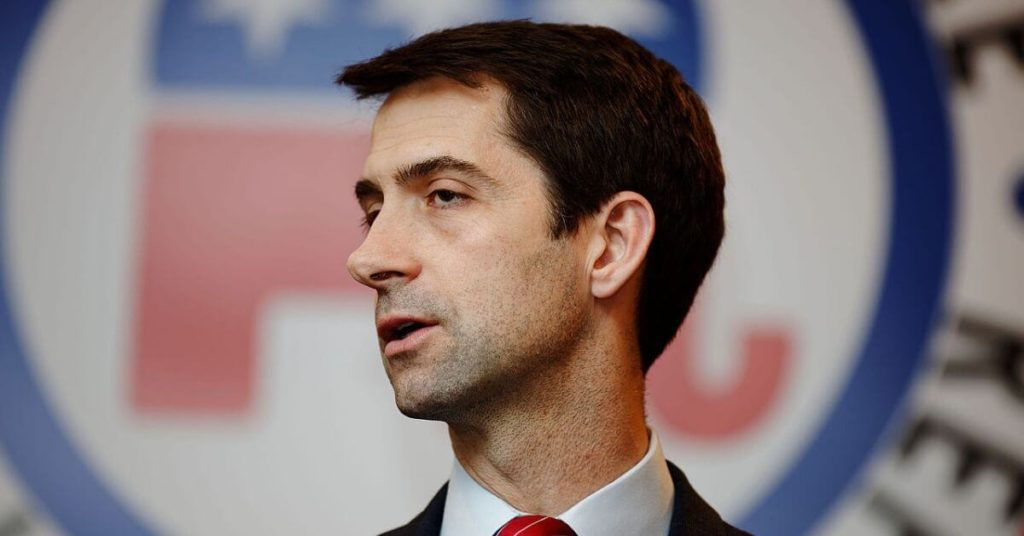 Tom Cotton looking to the left