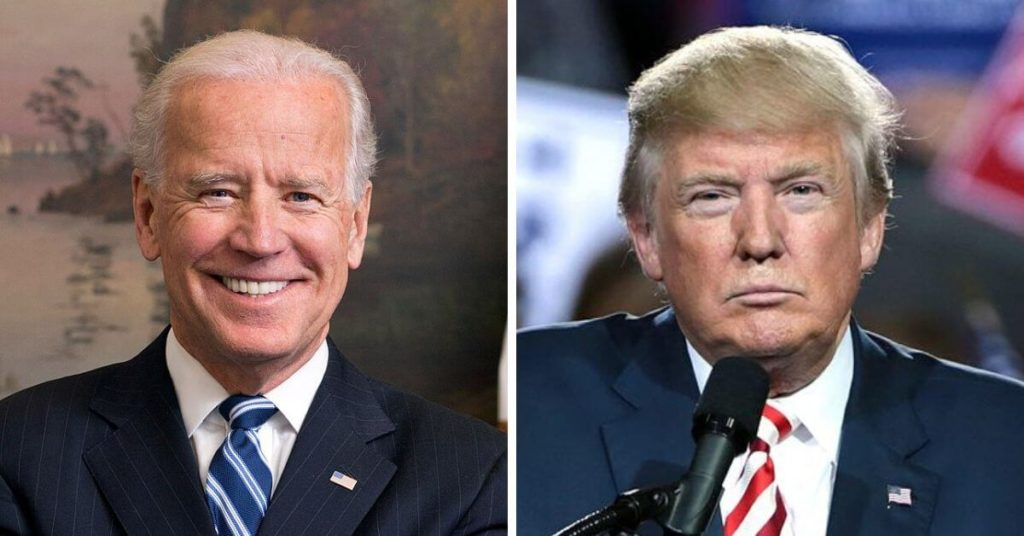 Side by side photographs of Joe Biden and Donald Trump.
