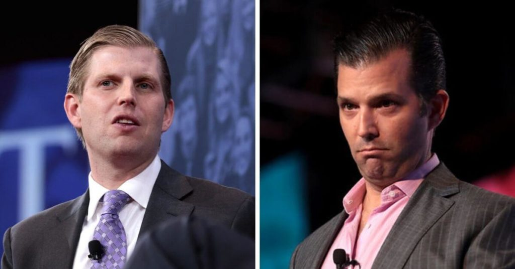 Side by side photo of Eric Trump and Don Trump Jr.