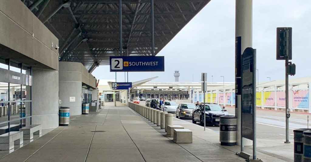 A photograph of the empty oakland airport
