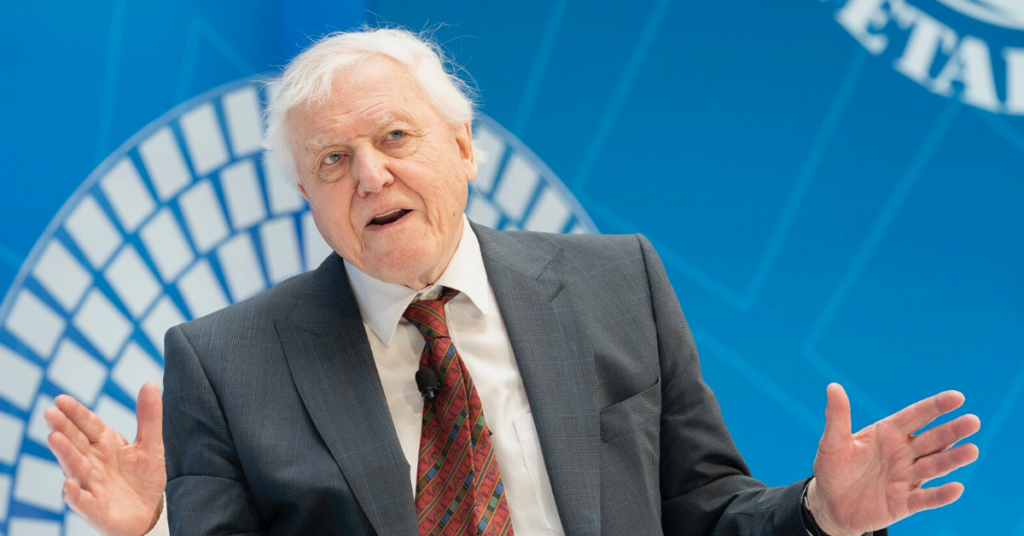 David Attenborough on a stage at an event
