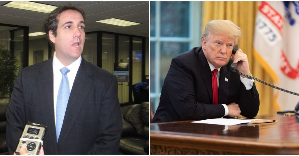 Side By side photographs of Michael Cohen and Donald Trump