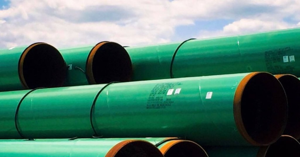 Stack of pipes that will be used in a pipeline