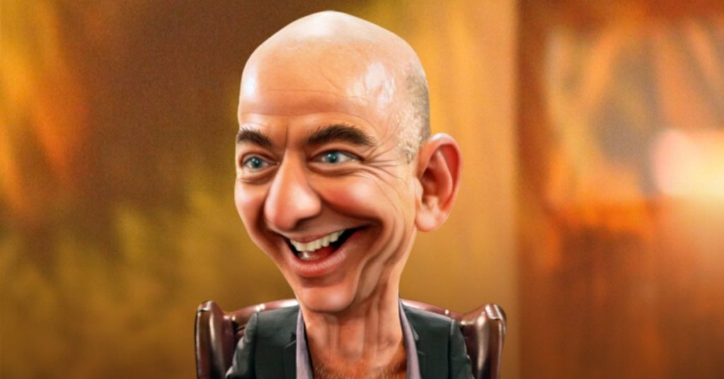 A caricature of Jeff Bezos with a giant goofy head.