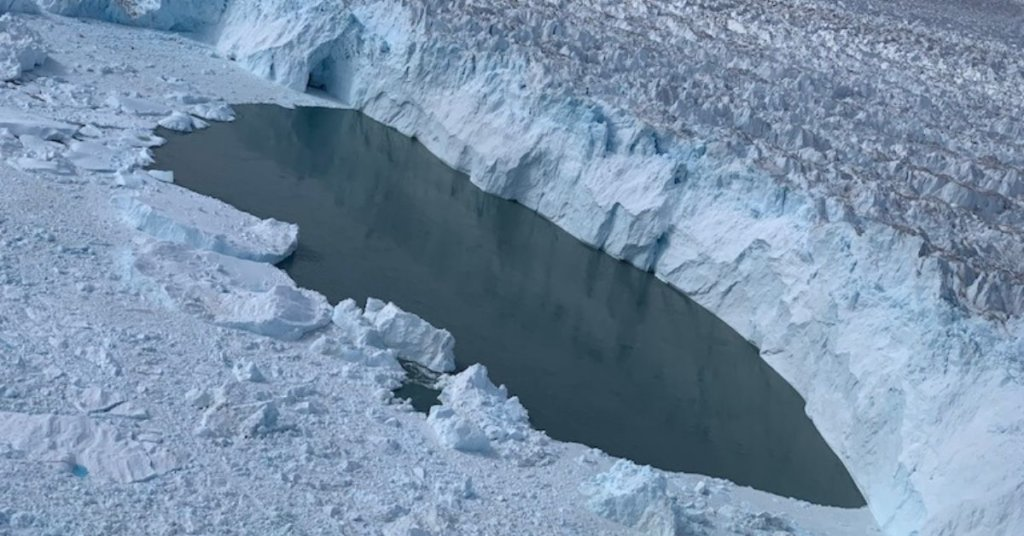 NASA's Oceans Melting Greenland campaign flew over a region of open water at the calving front of Helheim Glacier on Aug. 15, 2019, dropping a temperature probe that detected warm water.