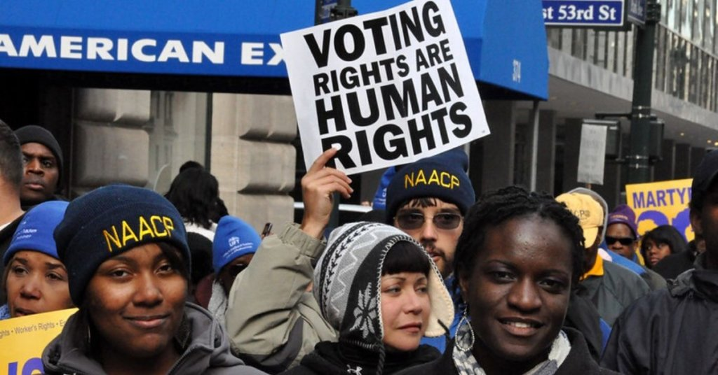 A photograph of protesters holding signs for voting rights.