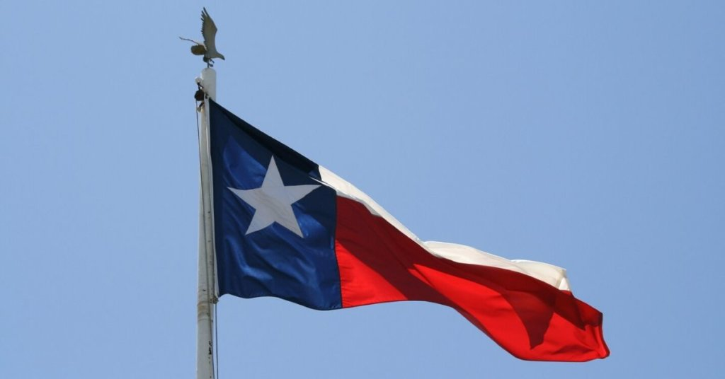 Texas flag waving in the wind.