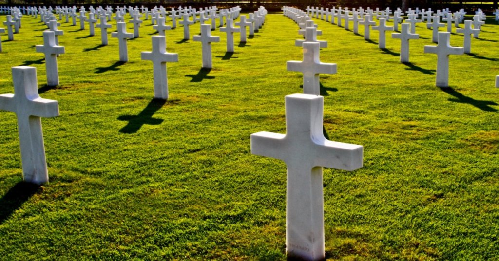 Tombstones in a military graveyard.