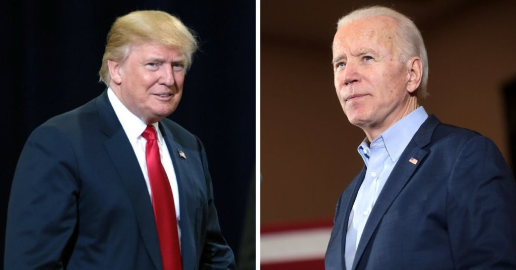 Side by side photo of Trump and Biden