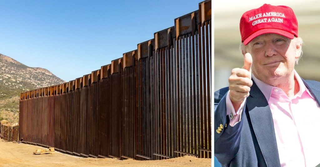 Side by side photo of the border wall and Trump giving a thumb's up