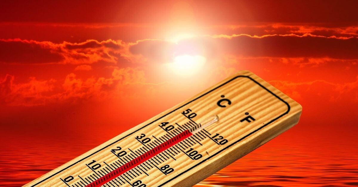thermometer on a red background