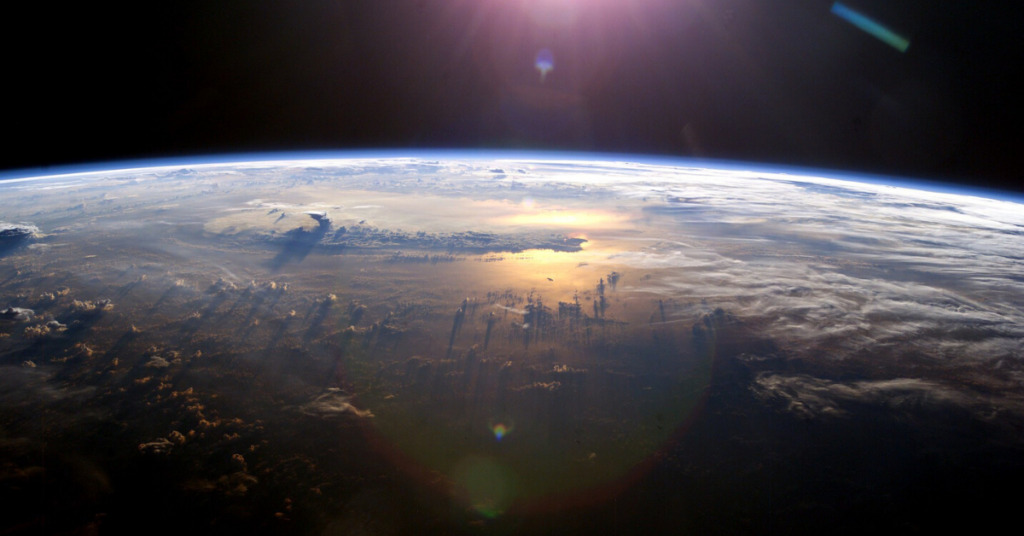 A photo of the earth from outer space