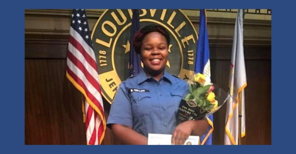 Breonna Taylor holding flowers and an award