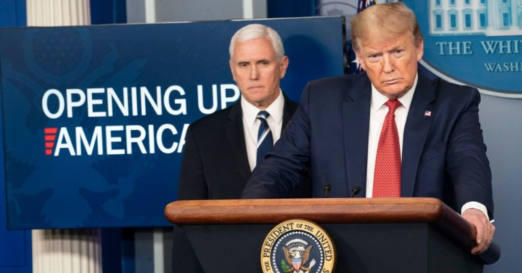 President Trump standing at a podium with Pence behind him