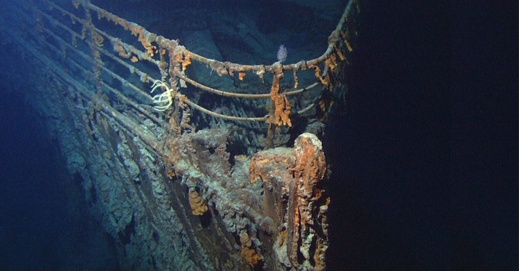 Photo of the titanic at the bottom of the ocean