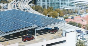 Solar panels on top of a parking deck