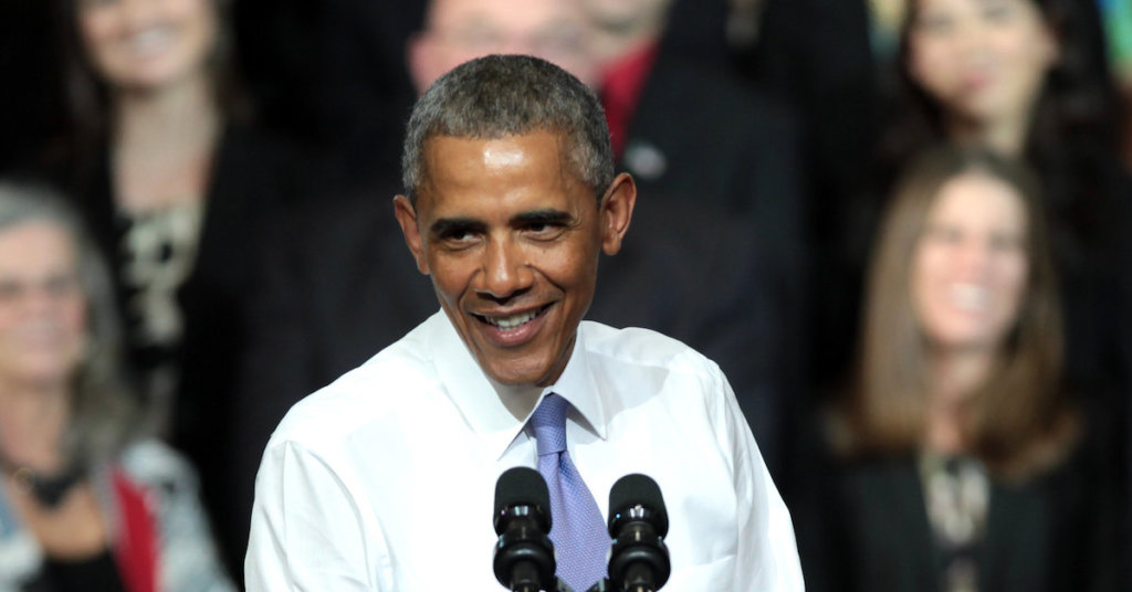 A photograph of Barack Obama speaking