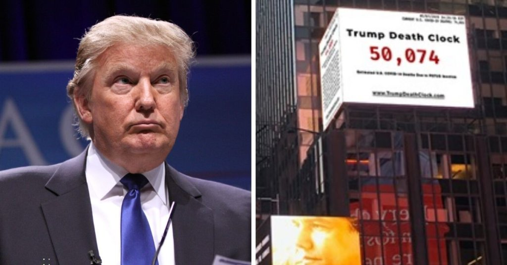 A side by side photo of President Trump on the left and the Times Square Trump death clock on the right