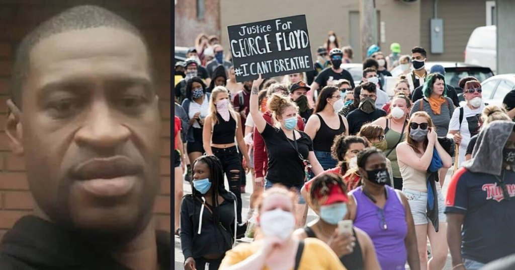 Side by side photo of George Floyd and protestors