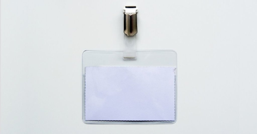 A blank nametag on a white background