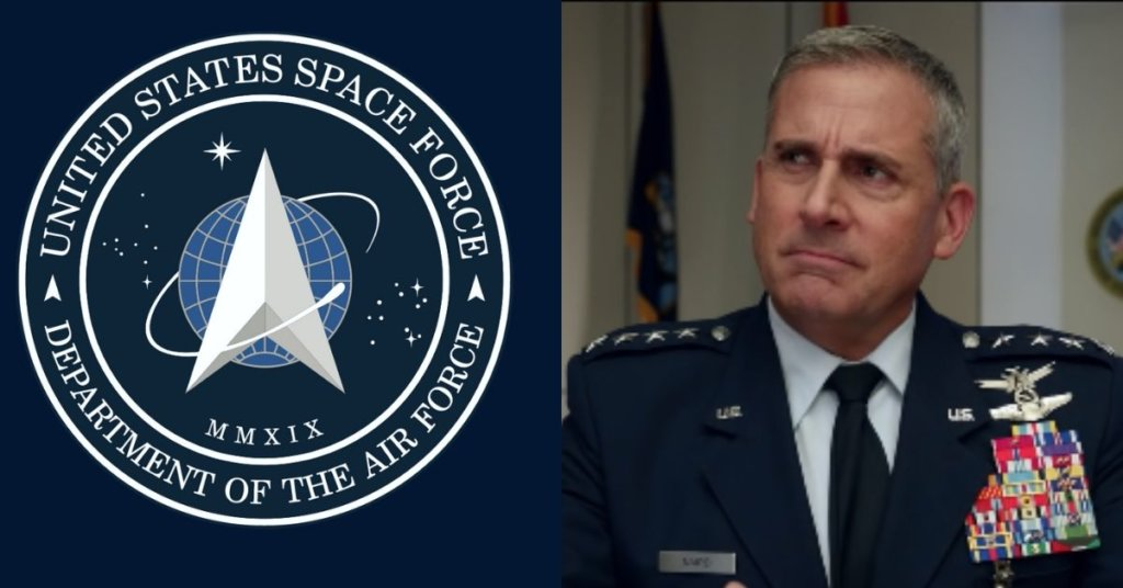 Side by side photo of the Space Force logo and Steve Carrell
