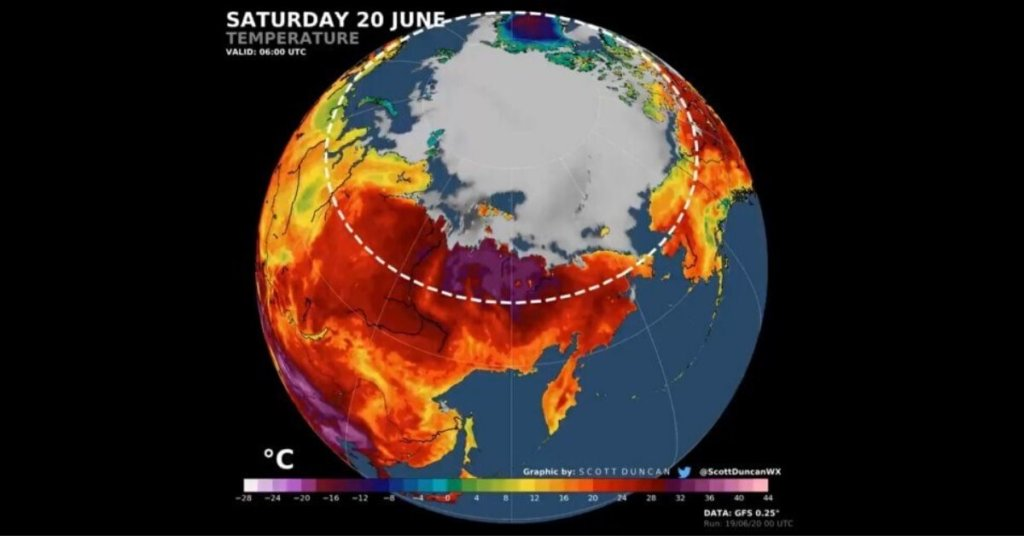 Descriptive map of arctic heat shows temperatures rise in the northern hemisphere climate emergency.
