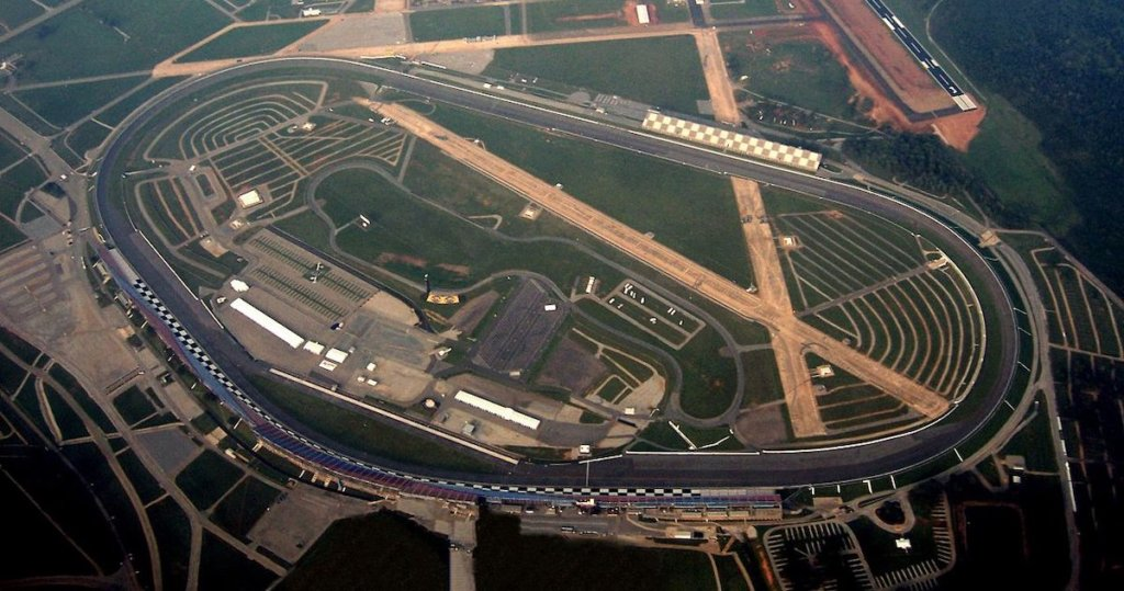 An aerial photograph of the Talladega Superspeedway.