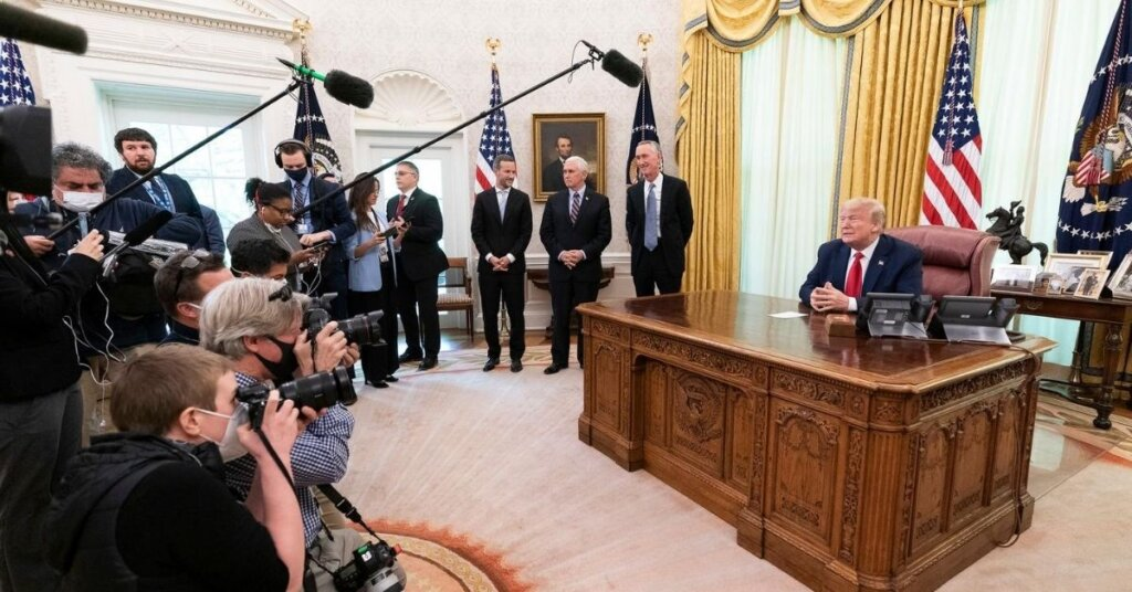 Trump being interviewed in the Oval Office