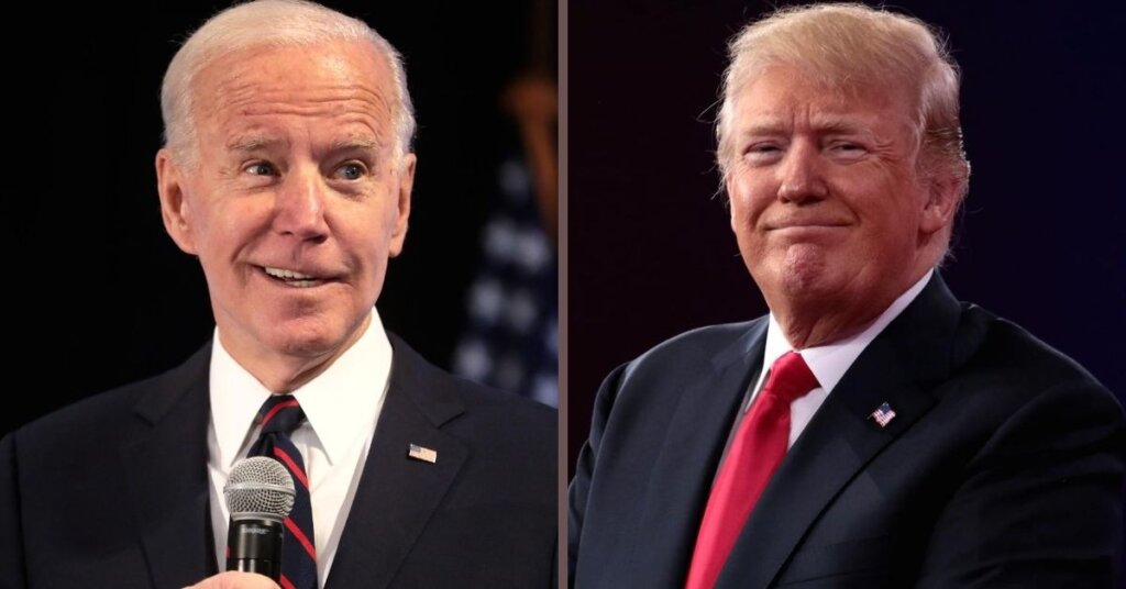 Side by side photos of Biden and Trump