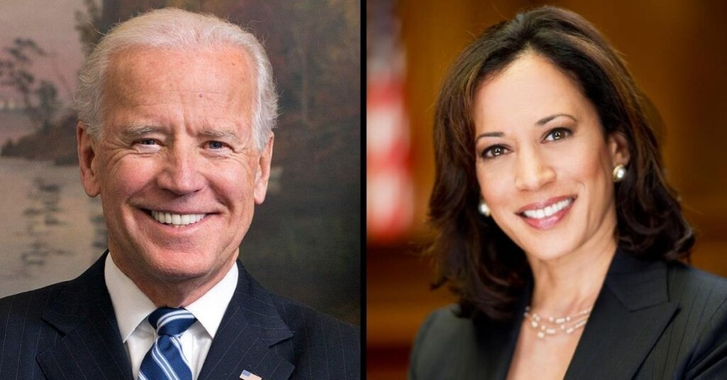 Side by side photo of Biden and Harris