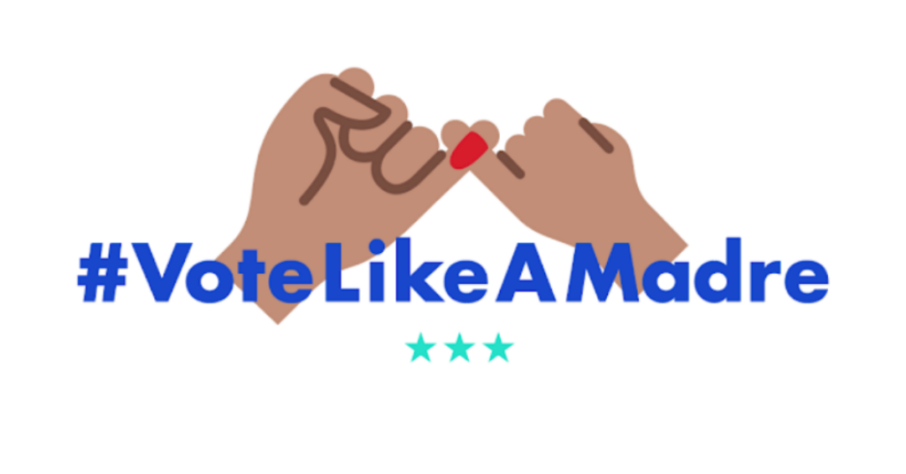 "Two hands making a pinky promise on a white background with text overlayed that says ""#VoteLikeAMadre"""