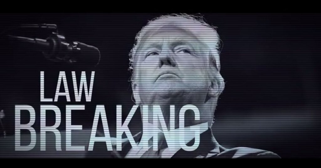 "Black and white photo of Trump with ""Law breaking"" written on it"
